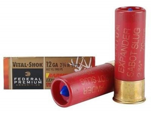"Federal 12 Gauge Ammunition Vital-Shok P152XT1 2-3/4"" 3/4oz Barnes Expander Tipped Slug 1900fps 5 rounds"