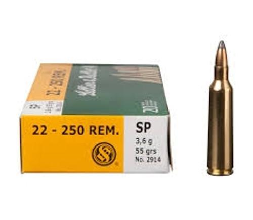 Sellier & Bellot 22-250 Remington Ammunition SB22250B 55 Grain Soft Point 20 rounds