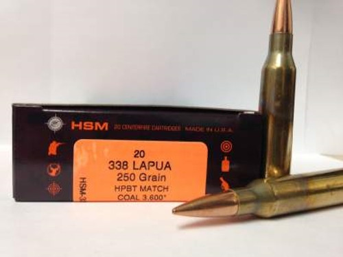 HSM 338 Lapua Magnum 250 Grain Sierra MatchKing Hollow Point Boat Tail 20 rounds