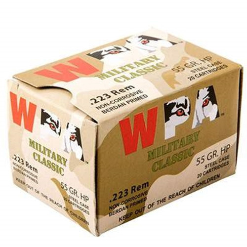 Wolf 223 Rem Military Classic 55 Grain Hollow Point Steel CASE 500 rounds