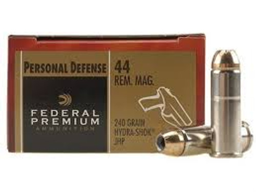 Federal 44 Magnum Ammunition Hydra-Shok P44HS1 240 Grain Jacketed Hollow Point 20 rounds