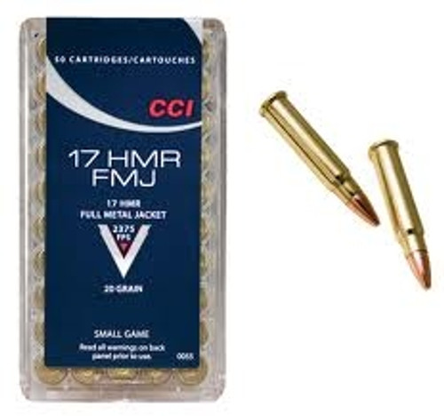 CCI 17 HMR Ammunition 0055 Small Game 20 Grain Full Metal Jacket 50 Rounds