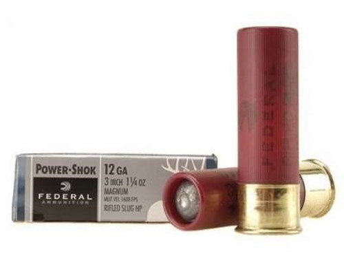 "Federal 12 Gauge Ammunition F131RS 3"" 1-1/4oz Hollow Point Rifled Slug 1600fps 5 rounds"
