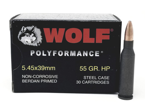 Wolf 5.45x39mm Ammunition WPA Polyformance 55 Grain Hollow Point 30 Rounds