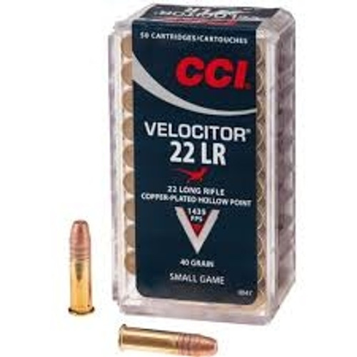 CCI 22LR Ammunition Velocitor 0047 40 Grain Copper-Plated Hollow Point 50 Rounds