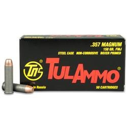 Tula 357 Magnum Ammunition 357158 158 Grain Full Metal Jacket 50 Rounds