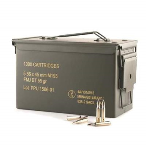 Prvi PPU 5.56mm M193 Ammunition PPN5561MC 55 Grain Full Metal Jacket Ammo Can of 1000 Rounds