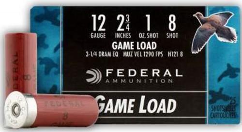 """Federal 12 Gauge Ammunition Game Load H1218 2-3/4"""" 1oz #8 1290 fps Case of 250 Rounds"""