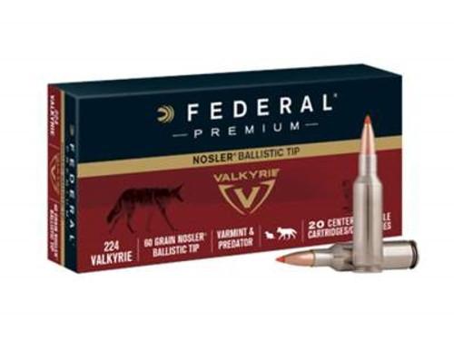 Federal 224 Valkyrie Ammunition Premium P224VLKBT1 60 Grain Nosler Ballistic Tip 20 Rounds