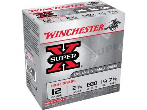 "Winchester 12 GA Super-X High Brass X127 12 Gauge 2-3/4"" 1-1/4 oz #7-1/2 Shot 1330fps 25 rounds"
