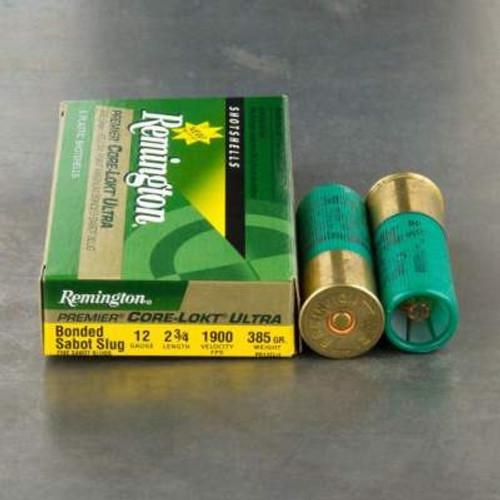 """Remington 12 Gauge 2-3/4"""" Core-Lokt Ultra 385gr Bonded Sabot Slug 1900fps 5 rounds"""