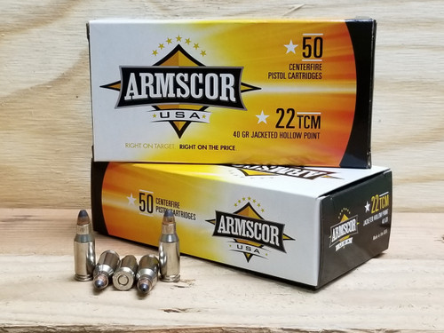 Armscor 22 TCM Ammunition 40 Grain Jacketed Hollow Point 50 Rounds