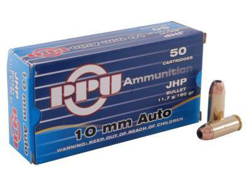 Prvi PPU 10mm Auto Ammunition 180 Grain Jacketed Hollow Point 50 Rounds
