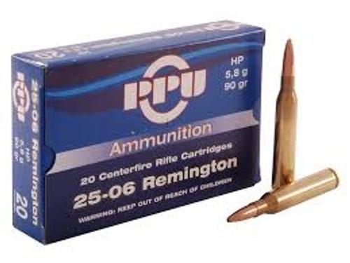 Prvi PPU 25-06 Rem Ammunition 90 Grain Hollow Point 20 Rounds