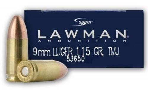 CCI 9mm Luger Ammunition Lawman 53650 115 Grain Full Metal Jacket 50 Rounds