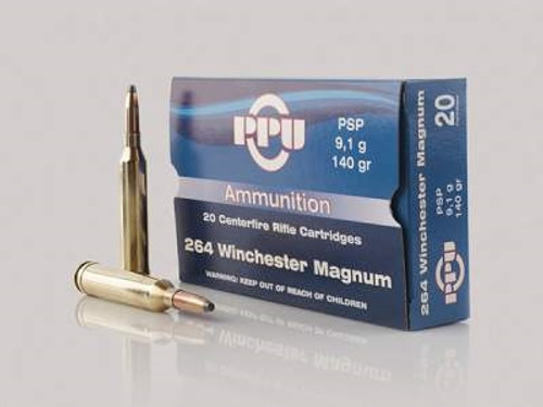 Prvi PPU 264 Win Mag Ammunition PP264 140 Grain Pointed Soft Point 20 Rounds