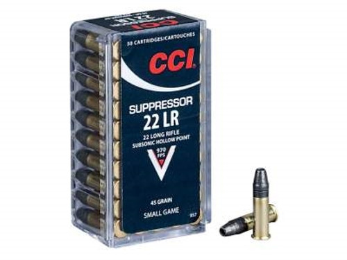 CCI 22LR Suppressor CCI0957 45 gr Lead Hollow Point 50 rounds