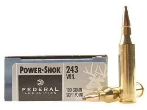 Federal 243 Win Power-Shok F243B 100 gr SP rounds 200 rounds