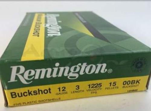 """Remington 12 Gauge Ammunition 12HB00 3"""" 00 Buck 15 Pellet 1225fps 5 rounds"""
