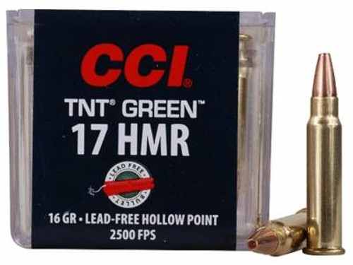 CCI 17 HMR TNT Green CCI0951 16 gr Lead Free Hollow Point 50 rounds