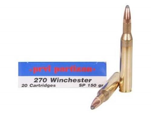 Prvi PPU 270 Win Ammunition PP262 150 Grain Soft Point 20 Rounds