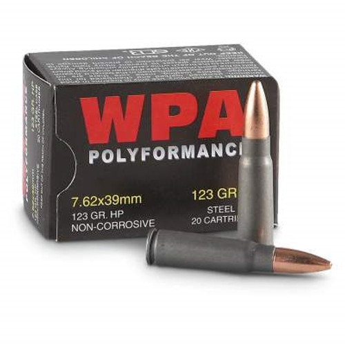 Wolf 7.62x39mm Ammunition WPA762HP123 123 Grain Hollow Point Steel Case of 1000 Rounds