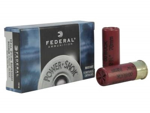 "Federal 12 Gauge Ammunition Power-Shok F12700 2-3/4"" 9 Pellet 00 Buck 1325fps Case of 250 Rounds"