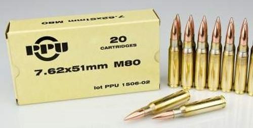 Prvi PPU 7.62x51mm M80 Ammunition PP768 145 Grain Full Metal Jacket 20 Rounds
