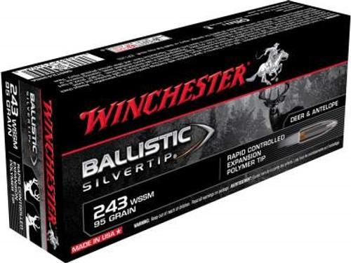 Winchester 243 WSSM Ammunition Supreme SBST243SSA 95 Grain Ballistic Silvertip 20 rounds