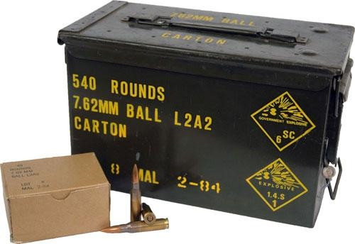 Malaysian 7.62x51mm NATO Ammunition Surplus 146 Grain Full Metal Jacket in Ammo Can 540 rounds