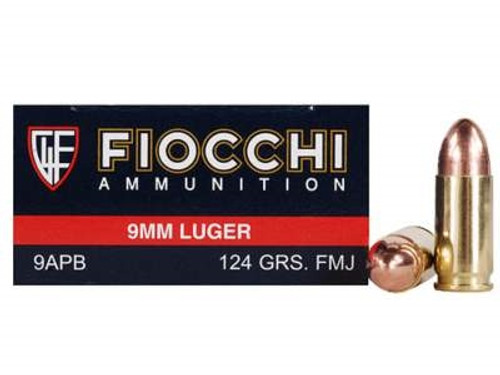 Fiocchi 9mm Luger Ammunition FI9APB 124 Grain Full Metal Jacket 50 Rounds