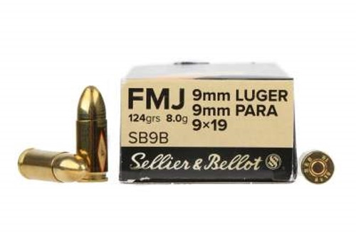Sellier & Bellot 9mm Luger Ammunition SB9B 124 Grain Full Metal Jacket CASE 1000 Rounds