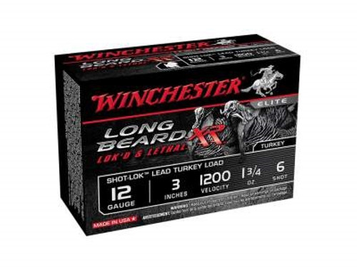 "Winchester 12 Gauge Ammunition Long Beard XR Turkey STLB1236 3"" 1-3/4oz #6 1200fps Copper Plated Shot 10 rounds"