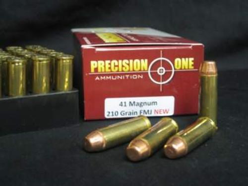 Precision One 41 Magnum Ammunition 210 Grain Full Metal Jacket 50 Rounds