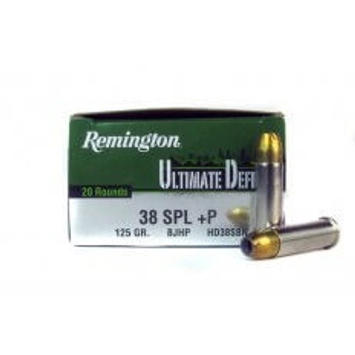 Remington 38 Special +P Ammunition Ultimate Defense HD38SBN 125 Grain Bonded Jacketed Hollow Point 20 rounds