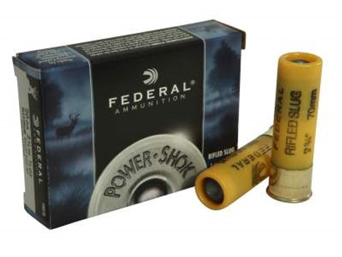 "Federal 20 Gauge Ammunition Power-Shok F203RS 2-3/4"" 3/4oz Hollow Point Slug 1600fps 5 rounds"