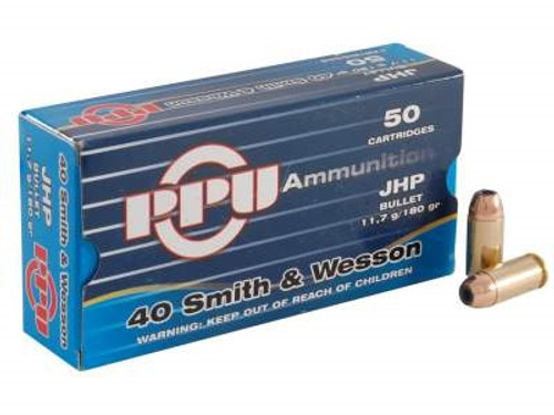 Prvi PPU 40 Smith and Wesson Ammunition PPR401 180 Grain Jacketed Hollow Point 50 Rounds
