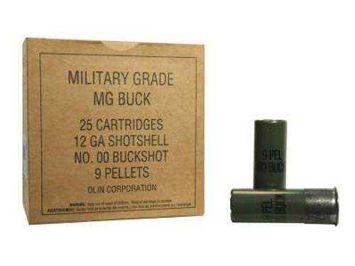 "Winchester 12 GA Military Grade Q1544VP 2-3/4"" 00 Buck 9 Pellets 1325fps 25 rounds"