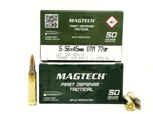 Magtech 5.56x45mm NATO Ammunition First Defense Tactical 556C 77 Grain Open Tip Match 50 Rounds