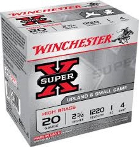 """Winchester 20 Gauge Ammunition X204 Super-X High Brass 2-3/4"""" 4 shot 1 oz 1220fps 25 rounds"""
