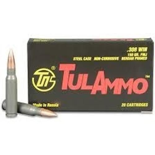Tula 308 Win Ammunition TA308150 150 Grain Full Metal Jacket 20 Rounds