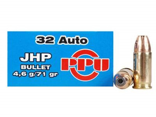 Prvi PPU 32 Auto Ammunition PPR311 71 Grain Jacketed Hollow Point 50 Rounds