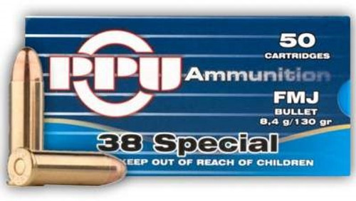 Prvi PPU 38 Special Ammunition PPR331 Full Metal Jacket 130 Grain Case of 500 Rounds