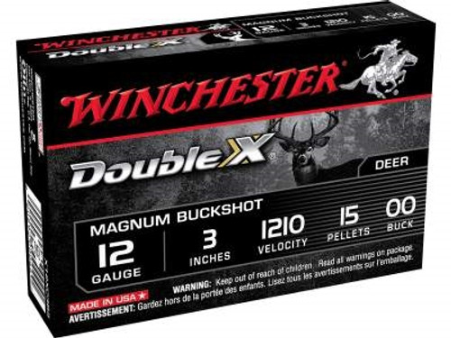 "Winchester 12 Gauge Ammunition Double X Magnum X12XC3B5 3"" Buffered 00 Copper Plated Buckshot 15 Pellets 1210FPS 5 rounds"