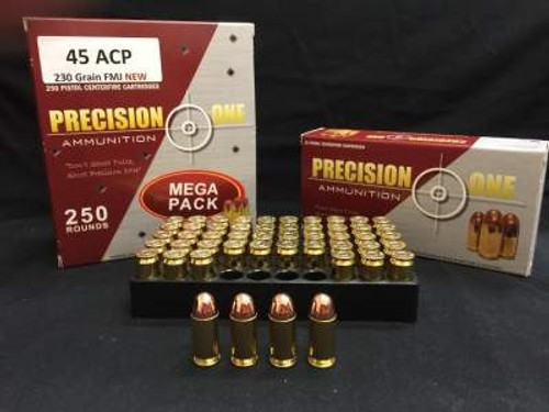 Precision One 45 Auto Ammunition 230 Grain Full Metal Jacket 50 rounds