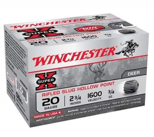 """Winchester 20 Gauge Ammunition Super-X X20RSM5VP 2-3/4"""" Rifled Slug 3/4oz 1600fps 15 Rounds"""