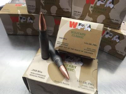 Wolf 308 Win Ammunition Military Classic WMC308FMJ145 145 Grain Bi-Metal Full Metal Jacket 20 Rounds