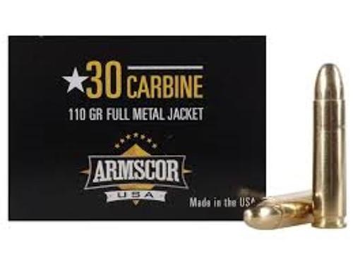 Armscor 30 Carbine Ammunition 110 Grain Full Metal Jacket CASE 1000 rounds