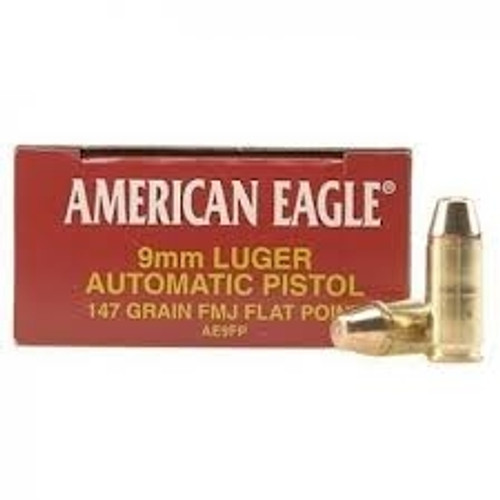 Federal American Eagle 9mm FMJ Flat Point 147 Grain 50 rounds