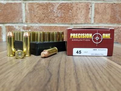 Precision One 45 Colt Ammunition 255 Grain Full Metal Jacket 50 Rounds